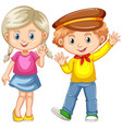 boy and girl waving hands vector image vector image