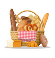 bread icons and wicker basket vector image vector image