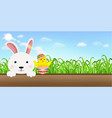 bunny chick easter egg on wood board vector image