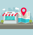 cafe shop store location with pin pointer vector image