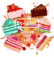 cakes set colorful desserts collection choose your vector image vector image