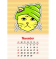 Calendar 2017 with cats November In cartoon 80s vector image vector image