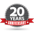 celebrating 20 years anniversary retro label vector image vector image