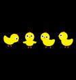 chicken chick bird set line cute cartoon funny vector image vector image