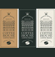 coffee labels with old building and coffee bean vector image