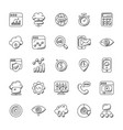 collection of seo and marketing doodle icons vector image vector image