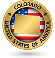 Colorado state gold label with state map vector image vector image