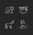 common and fantasy animals chalk white icons set vector image
