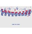 cuba garland flag with confetti vector image vector image