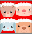 cute animals in christmas hat forest animal vector image