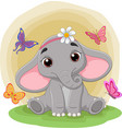 cute baelephant sitting in grass vector image vector image