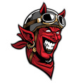 devil head rider wearing an old helmet vector image vector image