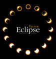 different phases of solar and lunar eclipse vector image