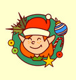 elf icon merry christmas and happy new year vector image vector image