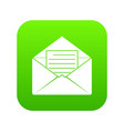 envelope with sheet of paper icon digital green vector image vector image