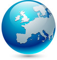 europe silhouette on blue globe vector image vector image