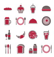 Food red icons set on white background vector image vector image