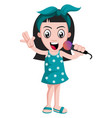 girl with microphone on white background vector image vector image