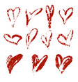 hand drawn heart set with different tools vector image vector image