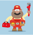 Happy Mechanic Cartoon with a Toolbox vector image vector image
