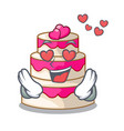 in love wedding cake in a cartoon fridge vector image vector image