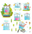 kids characters in action fun collection vector image vector image
