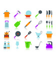kitchenware simple flat color icons set vector image vector image
