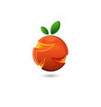 logo orange or grapefruit 3d shape citrus fruit vector image