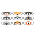 medical mask with animals faces fun reusable vector image