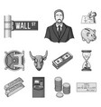money and finance monochrome icons in set vector image