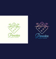 paradice tropic casino label emblem or vector image vector image