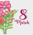 pink flowers decoration to march 8 celebration vector image vector image
