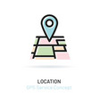 pointer with perspective city map gps service vector image
