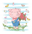 postcard cute pig flowers and butterflies cartoon vector image
