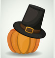 pumpkin and hat of thanks given design vector image