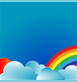 rainbow with sun and clouds vector image vector image