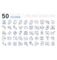 set line icons online banking vector image vector image