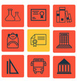 set of 9 school icons includes diploma chemical vector image vector image