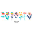 set paper flowers with realistic shadowideal vector image
