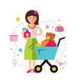shopping girl flat style colorful cartoon vector image vector image