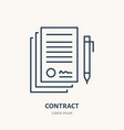 signing agreement contract flat line icon vector image vector image