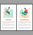 skateboarding male and parkour in city posters vector image vector image