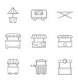 street kiosk icon set outline style vector image vector image