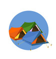 tents on blue circle vector image