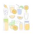 thin line icon set - orange fruit and products vector image