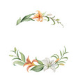 watercolor wreath orange lily flowers vector image