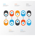 weather flat icons set collection of banner vector image vector image