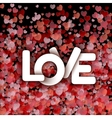 White love sign over red hearts background vector image vector image