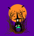 witch hat preparing a magical potion vector image vector image