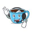 with headphone tea cup mascot cartoon vector image